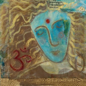 Mixed Medium painted portrait of a blue woman in meditative expression with the sacred symbol Om.